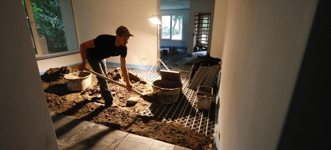 Inmetselen natuurstenen vloer
